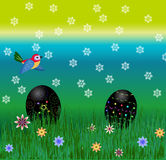 Easter black egg hunt, crazy spring weather, bird among snowflakes Royalty Free Stock Photography