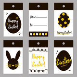 Easter black and gold trendy tags set, collection. Vector easter gift card design for print Royalty Free Stock Images