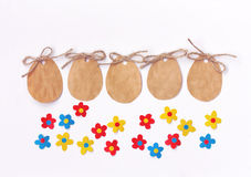 Easter blank paper label, eggs shape, colorful applique flowers Stock Image