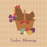 Easter Blessings card with hen in a basket Stock Photography