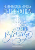 Easter Blessings,  Easter religious poster template. With transparency and gradient mesh Stock Photo
