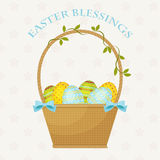 Easter Blessings greeting card. Easter basket with Easter eggs. Text Easter Blessings. Over floral seamless background. Eps 10 Royalty Free Stock Photos