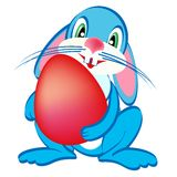 Easter blue bunny. Happy easter blue bunny cartoon Stock Images