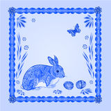 Easter blue bunny with butterfly frame vector Royalty Free Stock Photos
