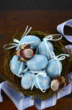 Easter blue decoration eggs in birds nest Stock Image