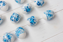 Easter blue and white eggs Royalty Free Stock Photo