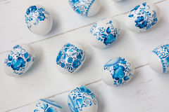 Easter blue and white eggs Stock Images