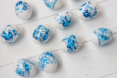 Easter blue and white eggs Stock Photos