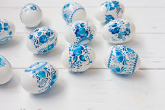 Easter blue and white eggs Stock Photography