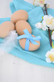 Easter Blue and White Theme Fresh Eggs Royalty Free Stock Photo