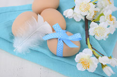 Easter Blue and White Theme Fresh Eggs Stock Photography