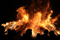 Easter bonfire in Spreewald Region, Lower Lusatia, Germany. Royalty Free Stock Photos