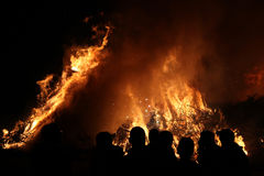 Easter bonfire in Spreewald Region, Lower Lusatia, Germany. Stock Images