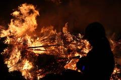 Easter bonfire in Spreewald Region, Lower Lusatia, Germany. Stock Photo