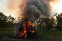 Easter bonfire in Spreewald Region, Lower Lusatia, Germany. Royalty Free Stock Photo
