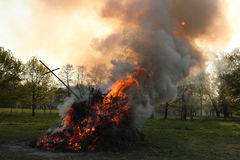 Easter bonfire in Spreewald Region, Lower Lusatia, Germany. Royalty Free Stock Image