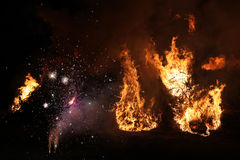 Easter bonfire in Spreewald Region, Lower Lusatia, Germany. Stock Photos