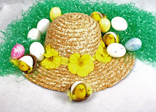 Easter Bonnet. An easter bonnet with eggs and chicks Stock Photos