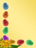 Easter border. Border with colourful easter eggs and yellow narcissus Stock Photos