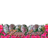 Easter Border 3D text eggs flowers. Image and illustration composition Easter eggs and flowers for card, border, invitation or background with copy space Stock Image
