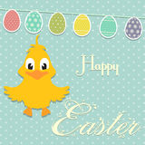 Easter border background with chick and bunting Royalty Free Stock Photography