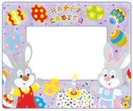 Easter border with bunnies. Horizontal vector frame border with Easter bunnies, a fancy cake and colorfully painted eggs Stock Photo
