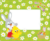 Easter border with Bunny and Chick Royalty Free Stock Photos
