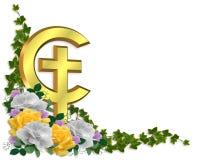 Easter Border Christian cross 3D stock photo