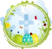 Easter border with Cross and eggs Stock Photography