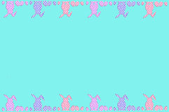 Easter border with dots pattern eggs and rabbits on the top and Royalty Free Stock Photo