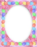 Easter Border eggs. Illustrated Easter eggs border for greeting card, stationery or holiday background with oval frame, copy space Stock Photography