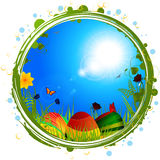 Easter border with eggs and blue sky Stock Images