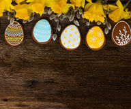 Easter border with eggs Royalty Free Stock Image