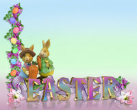 Easter Border eggs bunnies. Image and illustration composition Easter eggs border for greeting card, stationery or holiday background with copy space and cute Stock Image