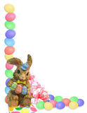 Easter Border eggs bunny Stock Photo
