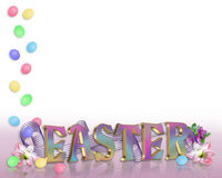Easter Border eggs, flowers 3D text. Illustrated Easter eggs border for greeting card, stationery or holiday background with copy space, 3D text Stock Photos