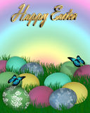 Easter Border Eggs in Grass 3D text. Illustration and image composition of colored eggs in grass for Easter card, rainbow background or border with butterflies Stock Photos