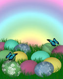 Easter Border Eggs in Grass. Illustration and image composition of colored eggs in grass, butterflies, for Easter card, rainbow background border with Royalty Free Stock Images