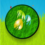 Easter border with eggs grass and butterfly Royalty Free Stock Photography