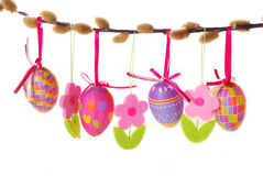 Easter border with hanging eggs Stock Photo