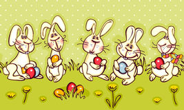 Easter border. Happy easter border. easter bunny and red egg Stock Image