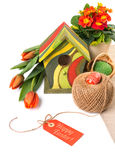 Easter border with orange flowers and spring decorations, text s Stock Photo