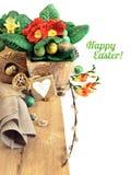 Easter border with orange primrose Stock Image