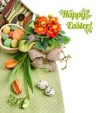 Easter border with orange tulips and primulas on white Royalty Free Stock Image