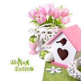 Easter border with pink tulips and matching spring decorations Stock Images