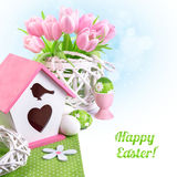 Easter border with pink tulips and matching spring decorations Royalty Free Stock Photo