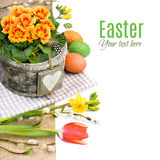 Easter border with primrose, spring flowers and natural decorati Royalty Free Stock Photography