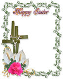 Easter Border Religious Cross. Image and illustration composition for Easter card, border, invitation or background with cross of palms, nails, flowers and copy Royalty Free Stock Photo