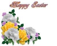 Easter Border Spring Roses. Image and illustration composition roses Corner design element for Easter card, invitation, background, border or frame with copy vector illustration