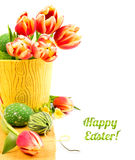 Easter border with tulips and Easter eggs isolated on white Stock Photos